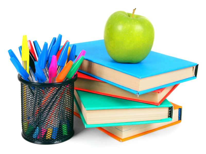 Books, an apple and pencils. On a white background.
