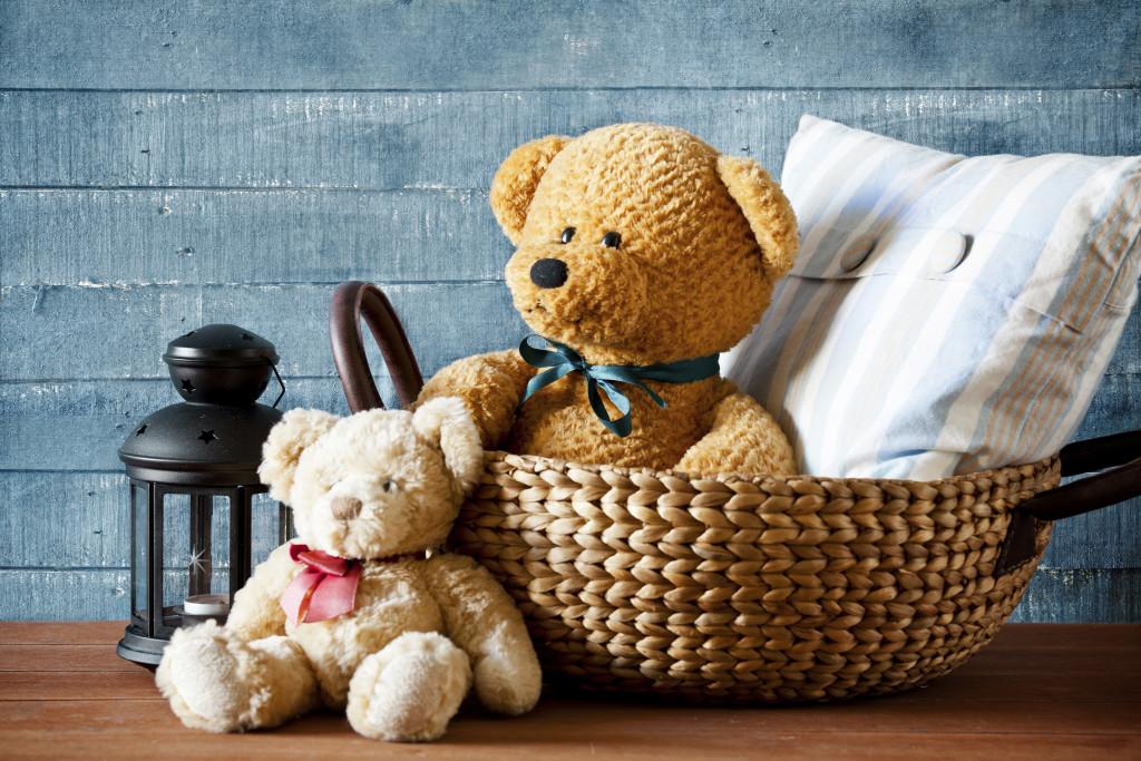 Cute Teddy Bear In A Basket