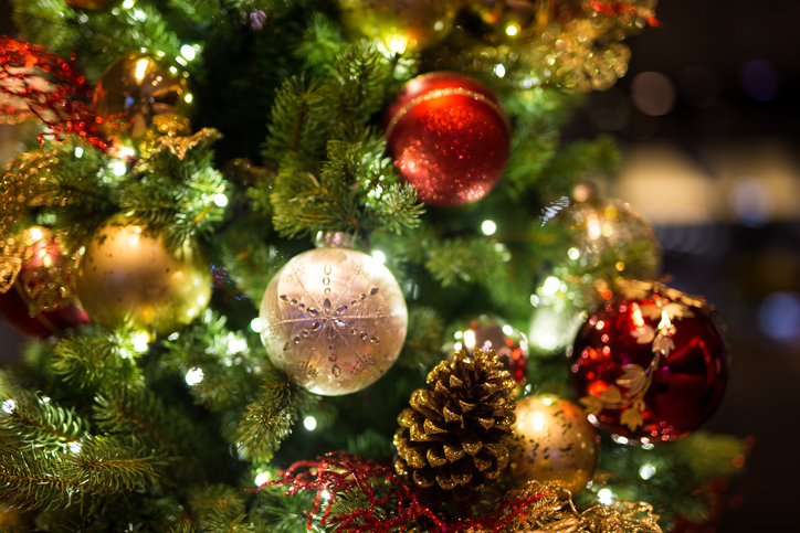 Christmas background with christmass balls - Soft focus