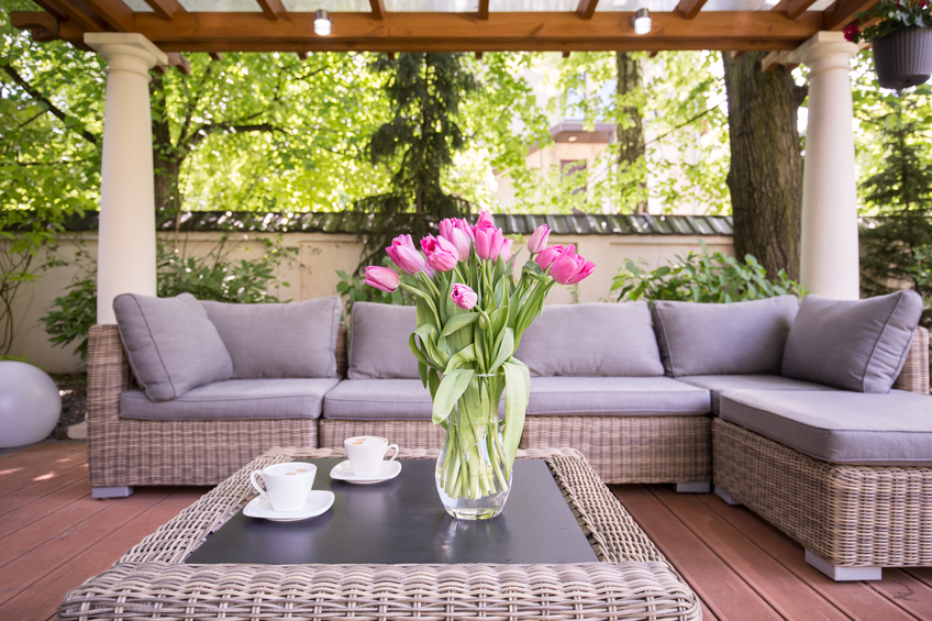 Designed space for relax in modern garden