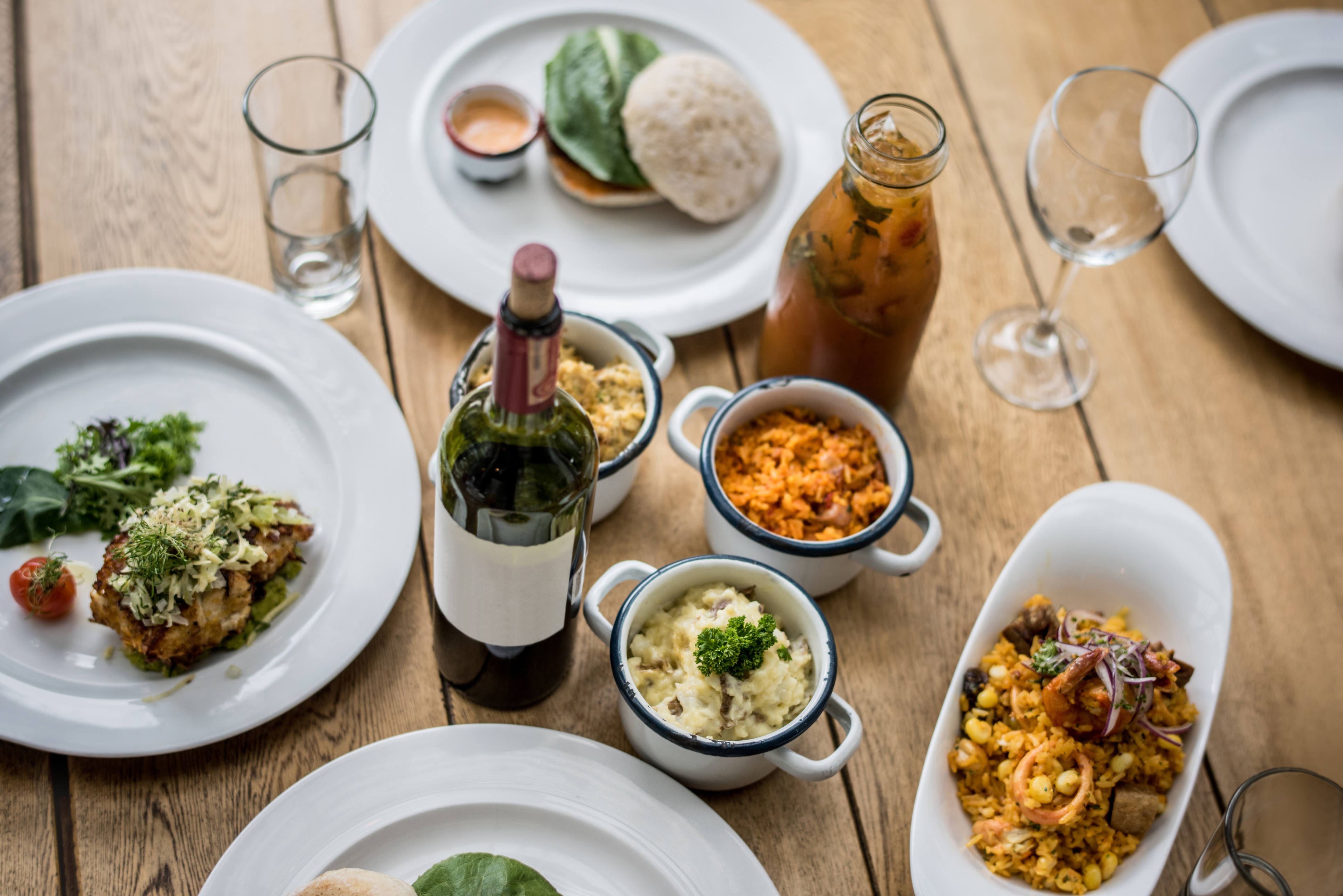 Latin American food served at a restaurant on a wooden table - food and drinks concepts